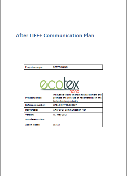 EcotexNano After LIFE+ Communication Plan